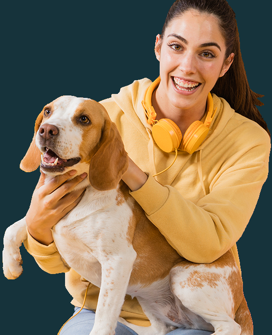A1 Pooper Scooper Service Main Page Image showing a young lady with her dog on her lap